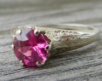 Engagement Ring 14K Antique Pink Sapphire 1920s Art Deco Filigree 1.65 Ct Old European Cut Pink Sapphire Ring 14K White Gold Ring