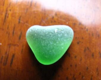 Sea glass heart dark green beach glass  heart