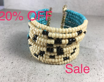 Tribal Seed Bead Cuff, Turquoise Beaded Bracelet, Seed Bead Bracelet, Multi strand Bracelet, Bangle Bracelet