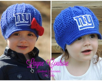 The Original- New York Giants Inspired Crochet Newsboy Hat with Patch and Bow Option / NFL Baby / Football Baby