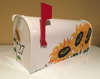 Sunflowers Hand Painted Mailbox,Valentines gift,white , metal, rural, Free number