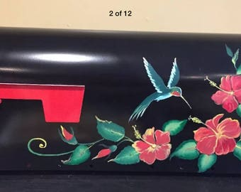"Hand Painted  curb side post mounted custom  Mailbox ""HUMMINGBIRD and RED HIBISCUSES"",  Garden decor, Flowers"