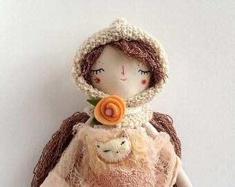 "16"" Pixie Doll, Flower Headband, Dress Up Doll, Rag Doll, OOAK Doll, Cloth Art Doll, Heirloom Doll, Gift for Girls"