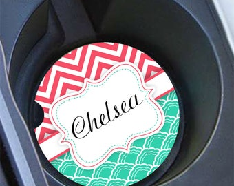 Bff gifts, Personalized cup holder coaster, Turquoise blue coral chevron, Name chevron car coaster, Pretty auto decor for women gifts (1070)