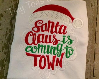 Santa Claus is coming to town Embroidered Shirt