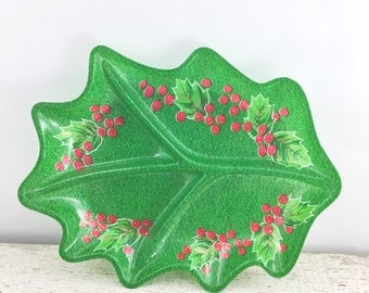 Vintage Plastic Holly Divided Tray