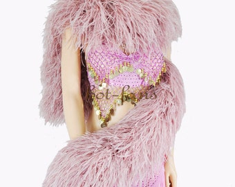 "20 plys Beige wood Luxury Ostrich  Feather Boa costume fluffy long 71"" (180cm )"