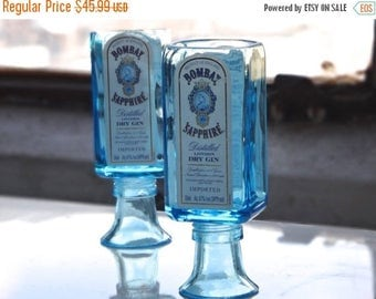 SALE TODAY ONLY Bombay Sapphire Shot Glass - Up Cycled Shot Glass From Bombay Mini Bottle - Set of Two