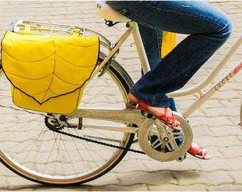 Leaf Waterproof Pannier / Bicycle bag with flap /bike accessories / Custom bag / Durable Woodland Design /MADE to ORDER