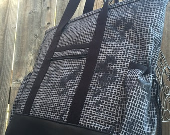 Teacher Tote, Travel Tote, Leather Bottom Large Tote Bag with Pockets, Diaper Bag, Nurse Tote, Professional Tote, Black and Grey Teacher Bag