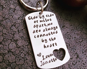 Best Friends Keychain Personalized Keychain Gift for Friend Long Distance Relationship
