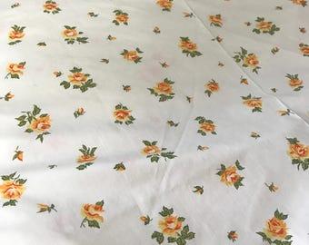 Orange Floral Sheet, Vintage Bed Sheet, Vintage Bedding, Twin Flat Sheet,