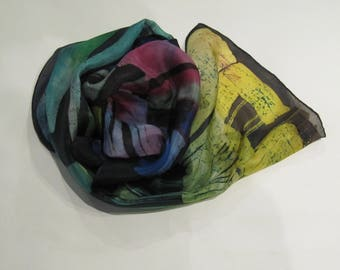 Hand-painted natural silk scarf wiht modern geometric pattern, red, yellow. blue, black,150 x 40 cm.