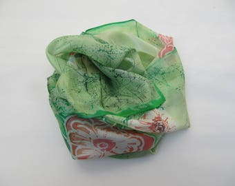 Hand-painted natural silk scarf wiht stylized floral motif, green, pink,180 x 50 cm.