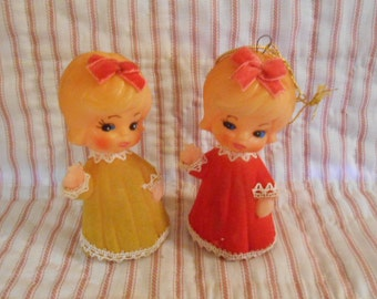 Two Vintage Celluloid Angel Ornaments
