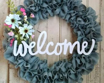 Country Blue Burlap Welcome Wreath