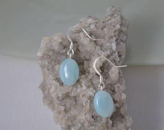Earrings, Sterling Silver, Amazonite Earring, Blue Earring, Dainty Earring, Simple Earring, Small Earring, Light Blue Earring, Stone Earring