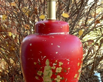 ON SALE Vintage, Ginger Jar, Pottery, lamp, Painted Red,  Mid Century, Asian Inspired, Table Lamp, Floral, Accent Lamp