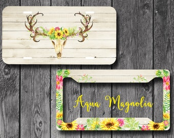 Sunflowers Deer Antlers, Rustic, Boho - License Plate Frame - Personalized - License Plate Set - Monogrammed - License Plate - Car Tag