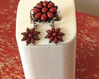 Gorgeous Dark Red Coral Native American Jewelry Ring and Matching Earring set in Sterling Silver...