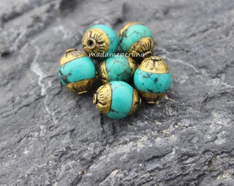 1  Brass Capped turquoise Bead Tibet Nepal Ethnic Handmade Boho Tribal Antiqued Brass Rustic Yoga turkish jewelry supplies