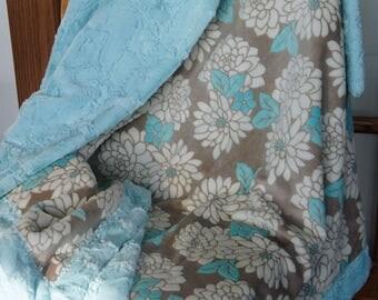 Minky Afghan - Mar Bella Ibiza Minky - Sea Glass Luxe Cuddle Hide - Teal Minky Blanket