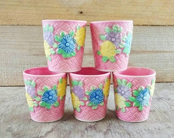 Ceramic Juice Cups Pink Majolica Tea Cups  Japanese Yellow Ware Floral Basket Weave Stoneware Yellow Ware Japanese Set of 5