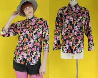 Vintage 80s 90s Floral Shirt - Pink Floral Black Floral Blouse - Long Sleeve Shirt - 90s Clothing - Androgynous Clothing - Size Medium