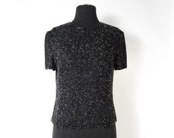 Late 1980s Early 1990s Adrianna Papell Black and Crystal Clear Beaded Short Sleeve Top - Zipper Closure - Size 12 - Silk