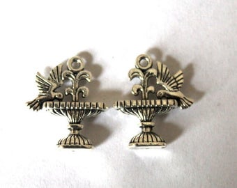5 Silver Double-Sided Dove/Bird in Water Fountain Charms/Pendants