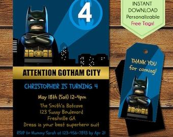 Lego Batman Invitations + Free Batman Thank You Tags, Lego Batman Birthday, Lego Batman Party, Lego Birthday Invitation, Lego Batman Movie