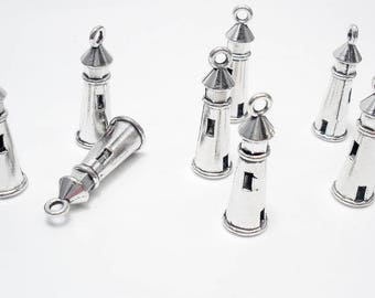 8PC LIGHTHOUSE charm//Antique Silver tone plated 3D LIGHTHOUSE charm//8pc. Silk Wrist Wrap Ribbon Bracelet Charms// 8PC. lighthouse Charms
