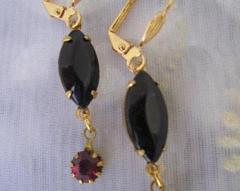 SUPER SALE Black diamond cut navet and rose pink ruby rhinestone earrings, Ruby Romance Earrings