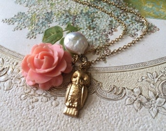 Gold plated flower necklace, mother pearl necklace, owl necklace, charms necklace, pendants necklace, for her, gift