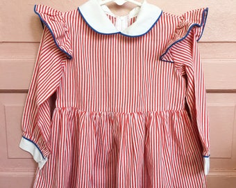 Vintage red and white candy stripe dress with blue cording- vintage girls stripe dress size 2/3T