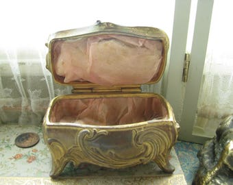 Antique Shabby Art Nouveou Gold Gilt Cast Bronze Jewelry Casket Pink Silk Lined