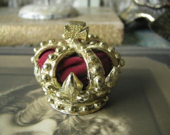 Vintage French Gold Crown Finial Fluer De Lis Miniature Crown