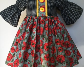 Size 2T......Fall/Winter Dress.....Made and ready to be shipped.