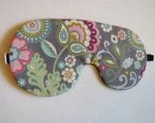 Paisley Sleep Mask, Adjustable comfortable eye mask, Gray Paisley Print Sleep Mask, Paisley Print Adjustable Sleeping Mask