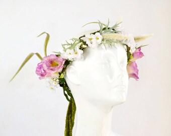 flower crown, bohemian head piece, pink and white floral crown, festival boho fairy crown, circlet, head piece, floral headband, tiara