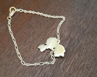 Love for China Recycled brass Custom China gold bracelet State Jewely