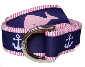 Whale and Anchor on Red Seersucker Nautical Belt/ Fabric Belt/Men's and Woman's Seersucker Belt/Nautical Red Seersucker Fabric D-Ring Belt