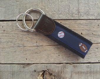 Sports Key Fob/ Preppy Key Chain / Party Theme Key Fob /Sport Balls /Leather Key Chain/ Key Ring