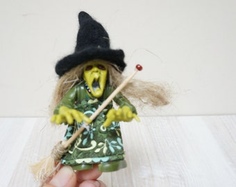 Good luck kitchen witch Halloween doll handmade hanging ornament felt feather hat home decor art figurine hand sculptured small primitive