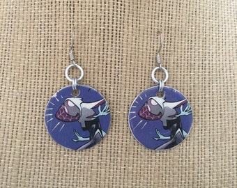 Spider-Gwen Upcycled Comic Book earrings made from actual Comic Books.