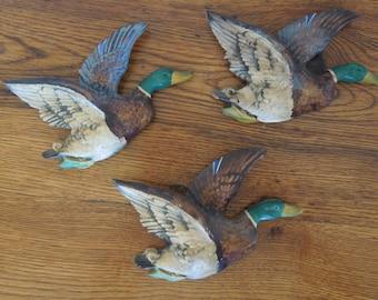 Vintage Chalkware Ducks Set of 3 Wall Hanging