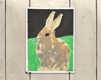 """Brown Bunny Original Art 9x11.5"""" One of a Kind 100% of the profits go directly to artists with disabilities Item 86 Sharon M."""