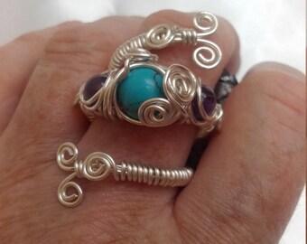 Boho Sliver Turquoise Sliver Ring
