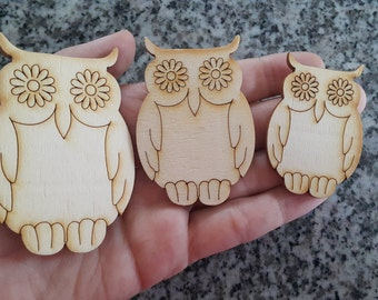 Set of 3 Laser Cut Plywood Owls For Your Crafts