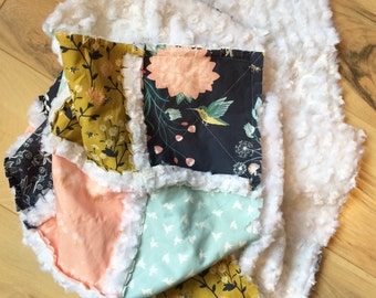 Stunning spring fluffy super soft minky baby girl rag quilt with hummingbirds bees flowers in pink, indigo, aspen blue & gold